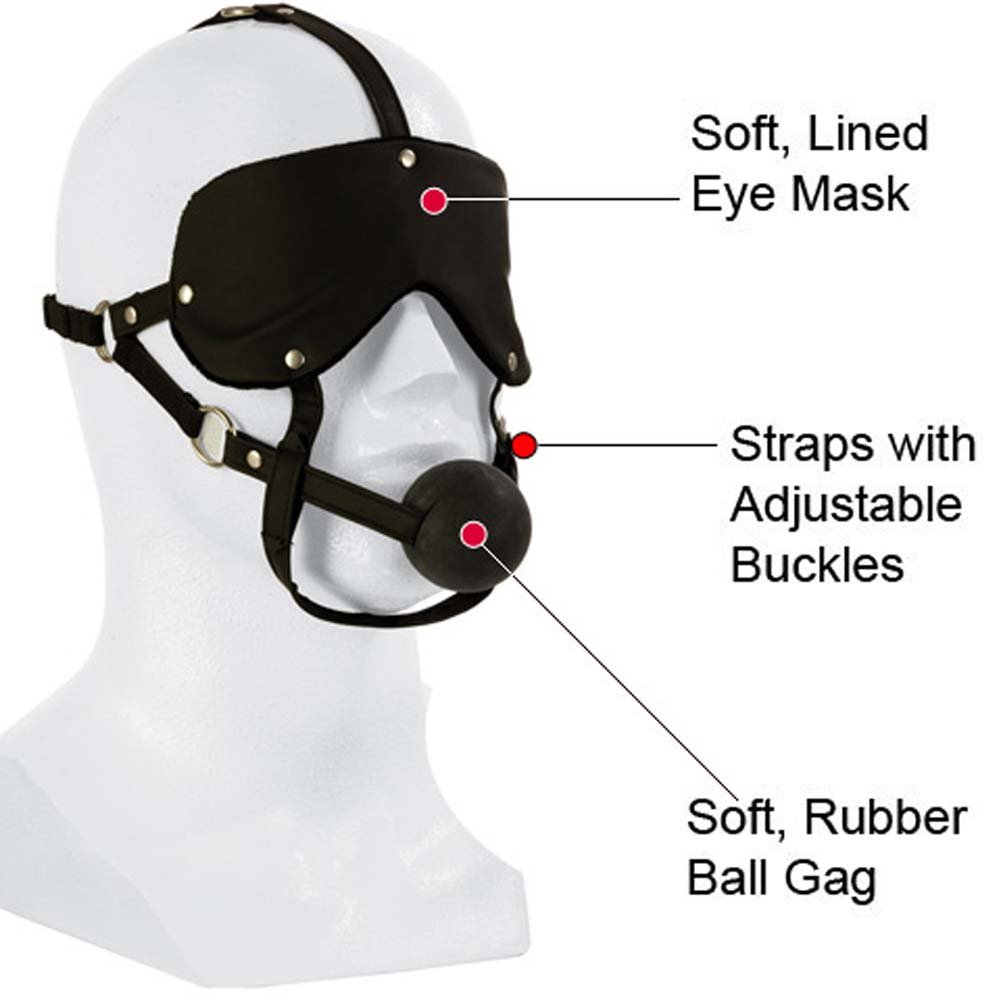 California Exotics Lovers Headgear Adjustable Eye Mask and Ball Gag Black - View #1