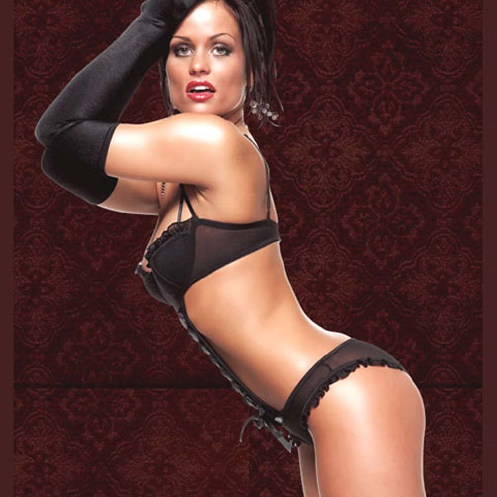 Mesh Teddy with Rhinestone Adjustable Straps Black Medium - View #4