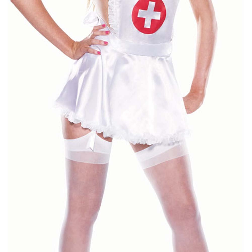 Nurse Set 4 Pc Satin Apron Headpiece Lycra Thong Stockings - View #3