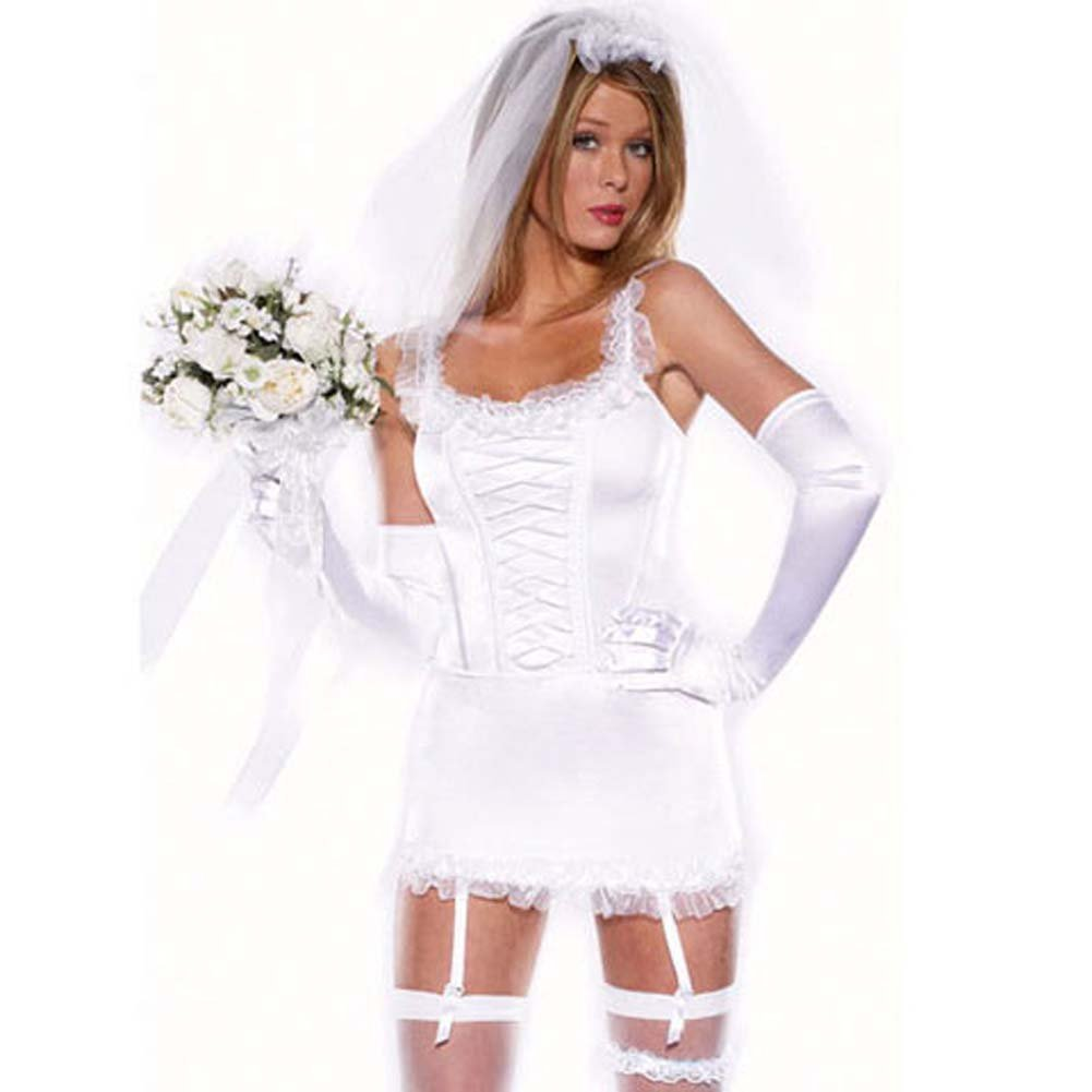 Blushing Bride 6 Pc Corset Skirt Stockings Gloves and Veil - View #2