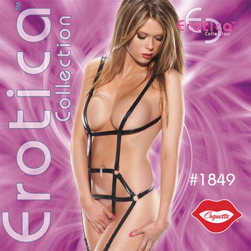 Wetlook Harness Teddy with Garters and Stockings - View #4