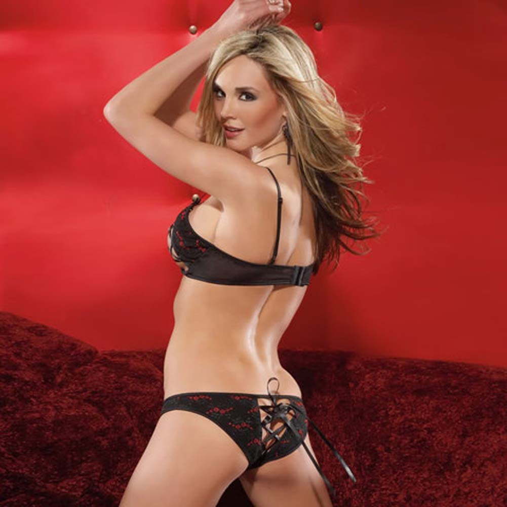 Embroidered Mesh Peek A Boo Bra and Panty Set Medium Black/Red - View #2