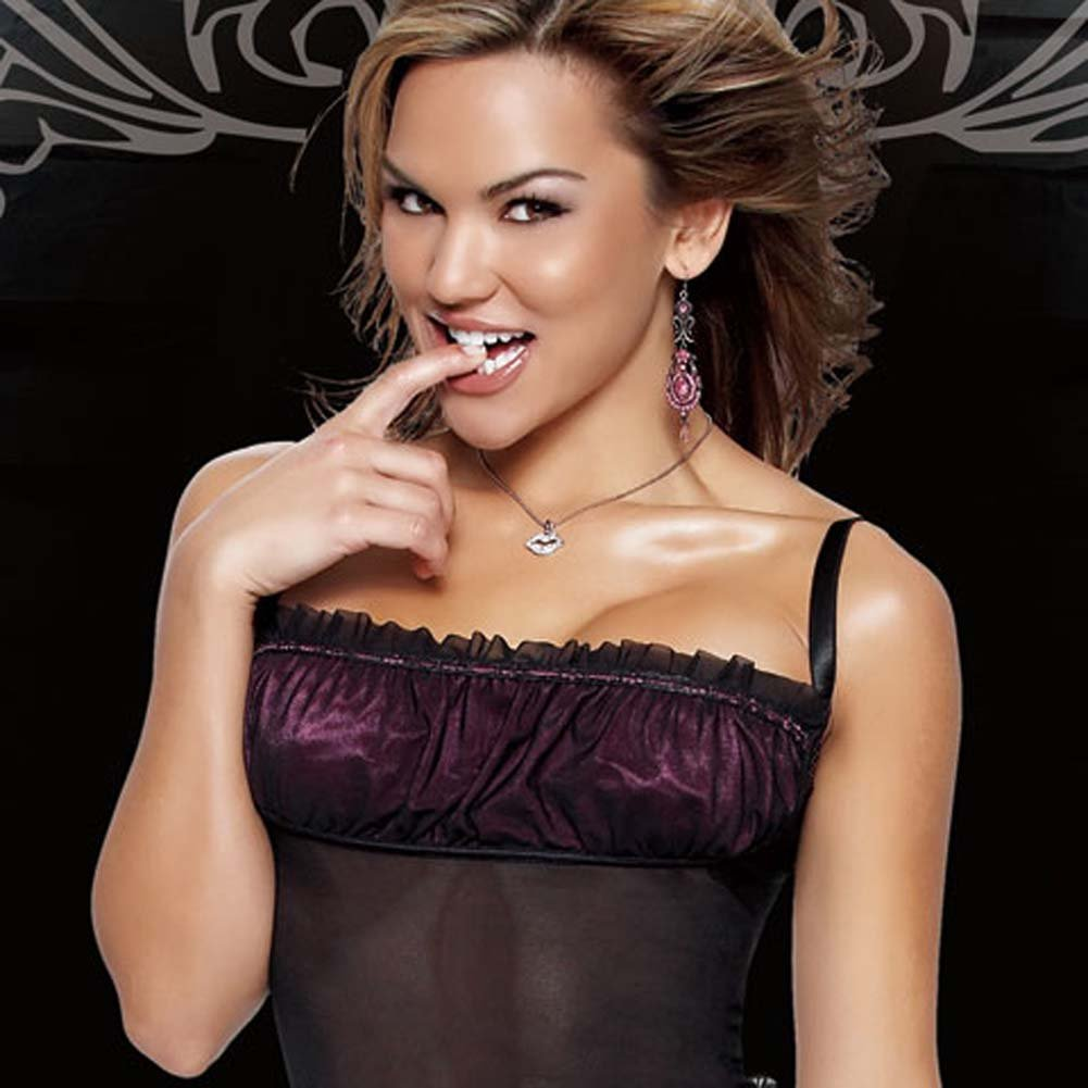 Coquette Lingerie Mesh Lycra Cami and G-String Medium Black - View #4
