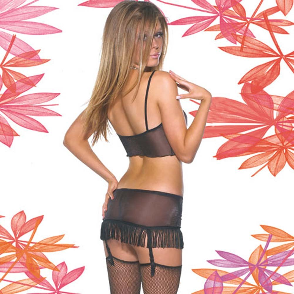 Sheer Lycra Cami and Gartered Skirt Set Large - View #2