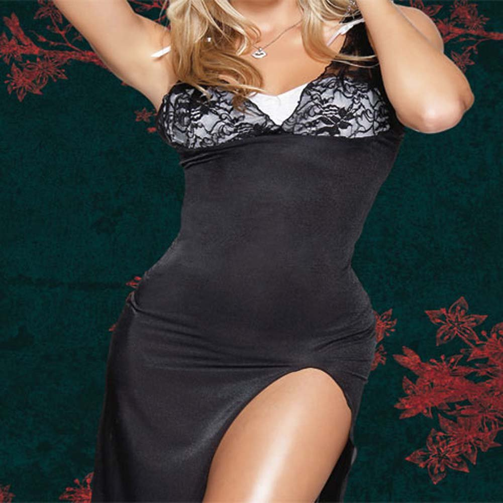 Sheer Stretch Lycra Gown with G-String Plus Size 1X/2X - View #2