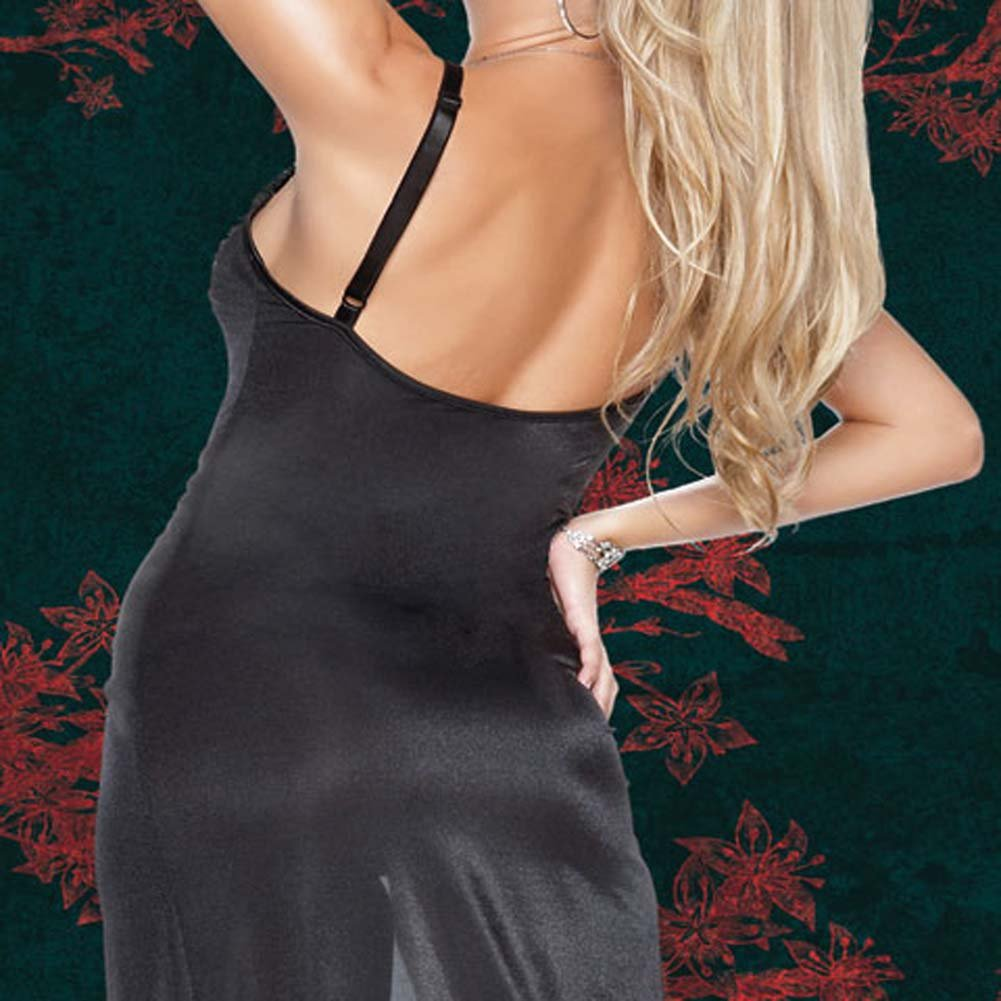 Sheer Stretch Lycra Gown with G-String Plus Size 1X/2X - View #4