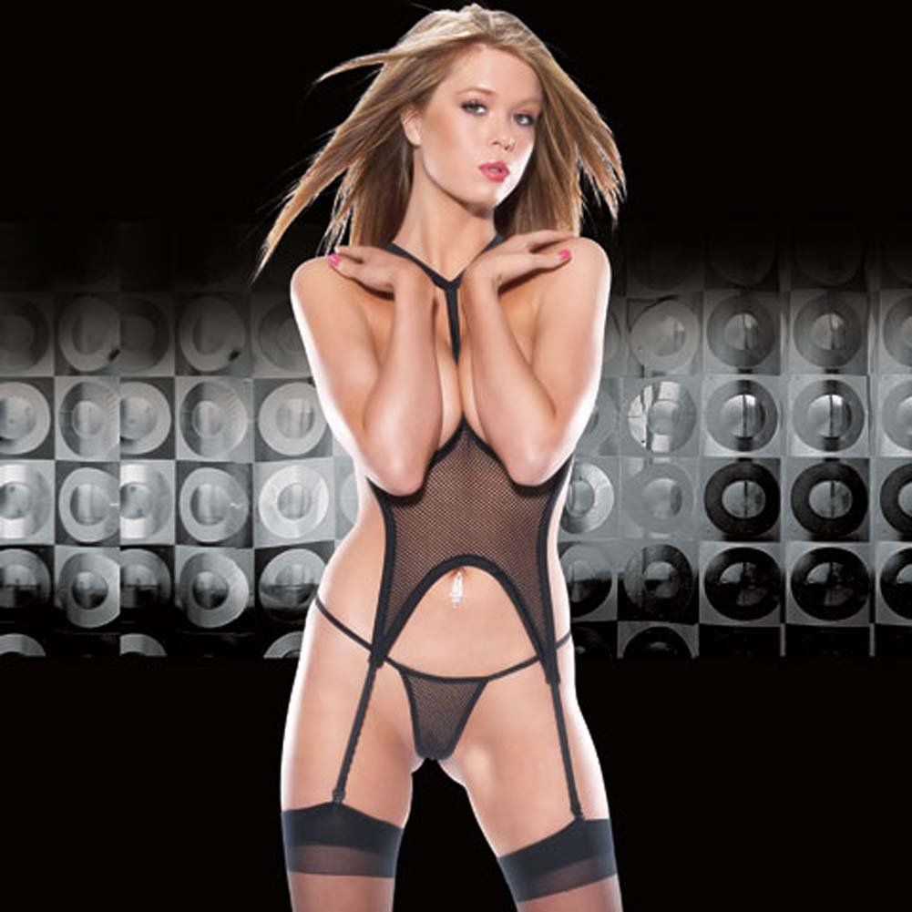 Open Cup Fishnet Bustier with Garters and G-String - View #2