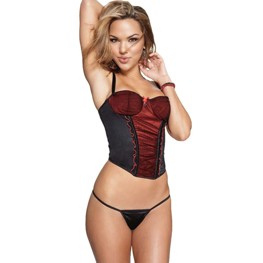Mesh Lycra Bustier and G-String with Red Accent Small - View #1