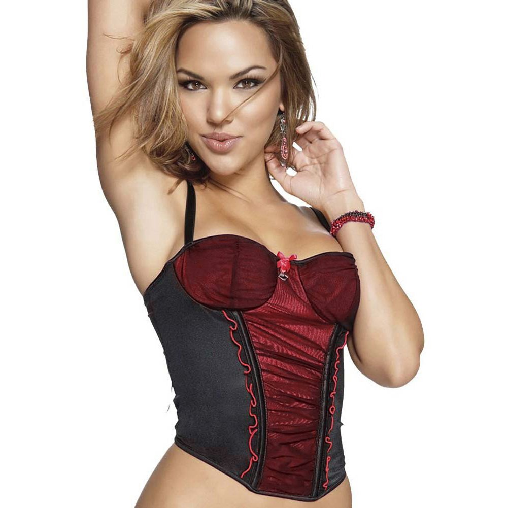 Mesh Lycra Bustier and G-String with Red Accent Large - View #3