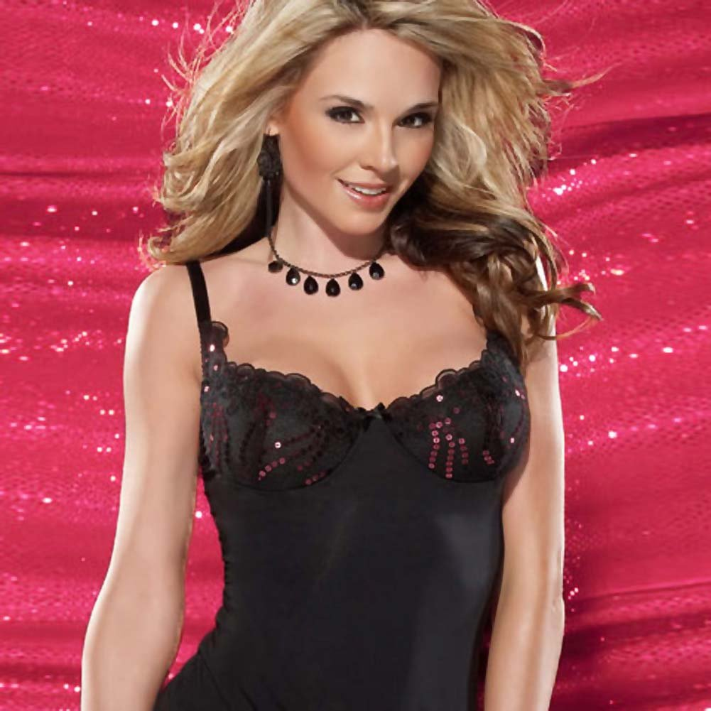 Microfiber Chemise and G-String Set Medium - View #3