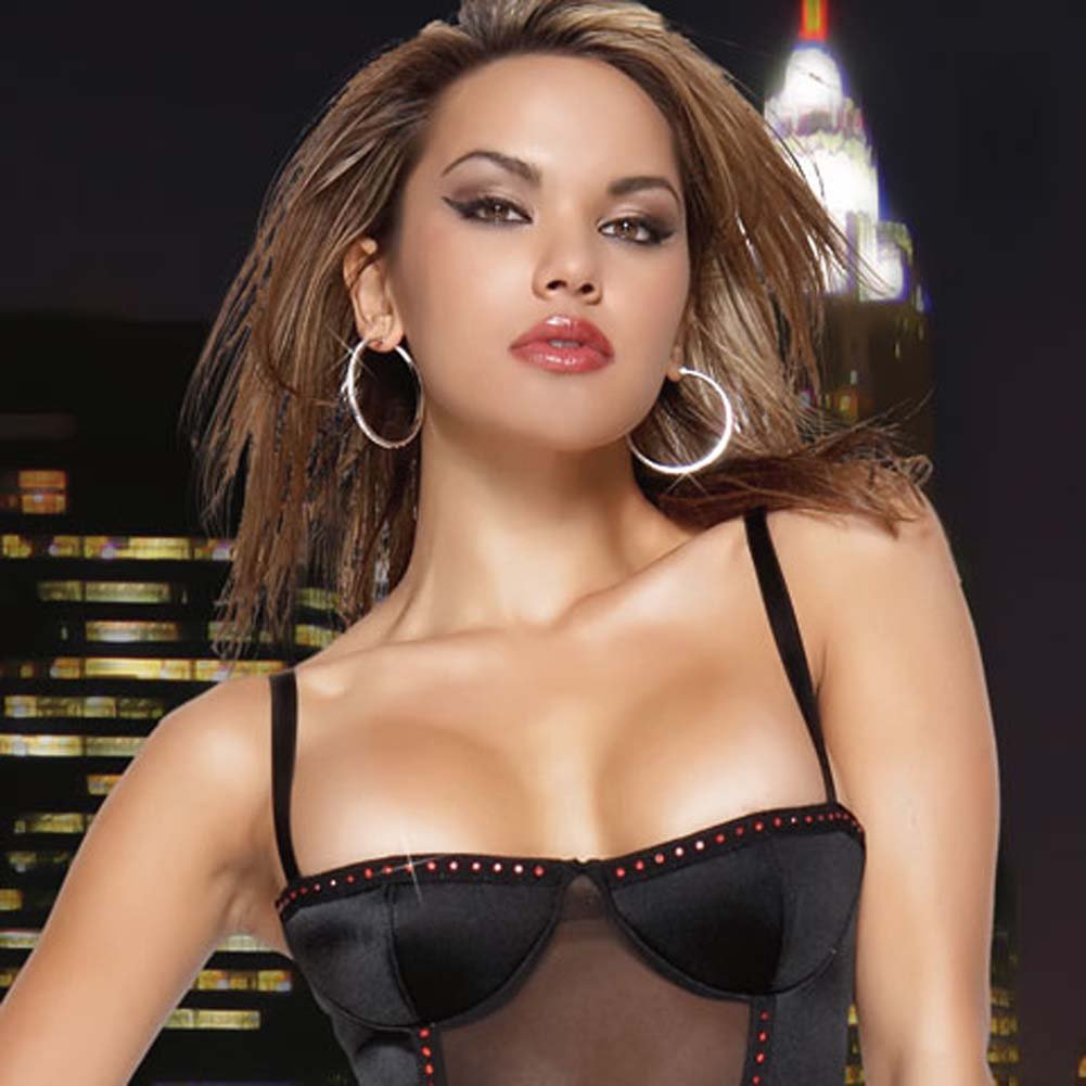 Lycra Mesh Rhinestone Bustier Black Medium - View #3