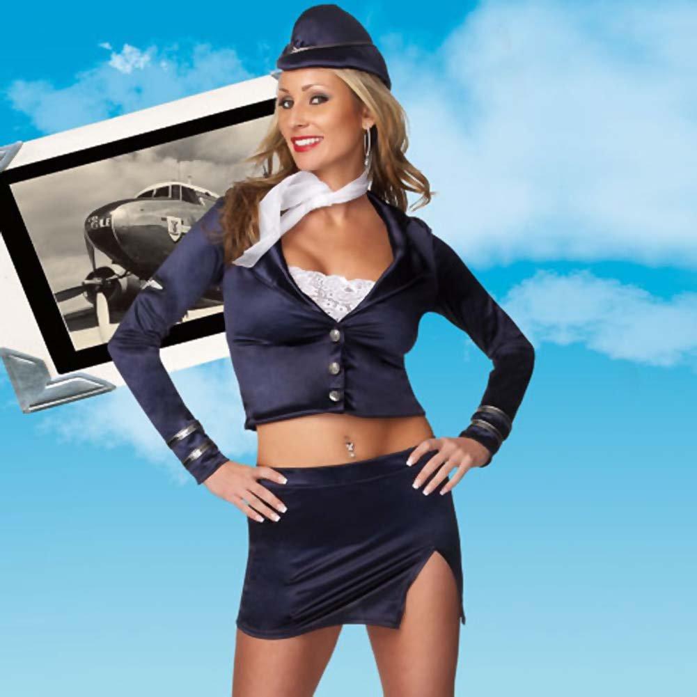Flight Attendant 5 Piece Costume for Women Small/Medium Navy Blue - View #3