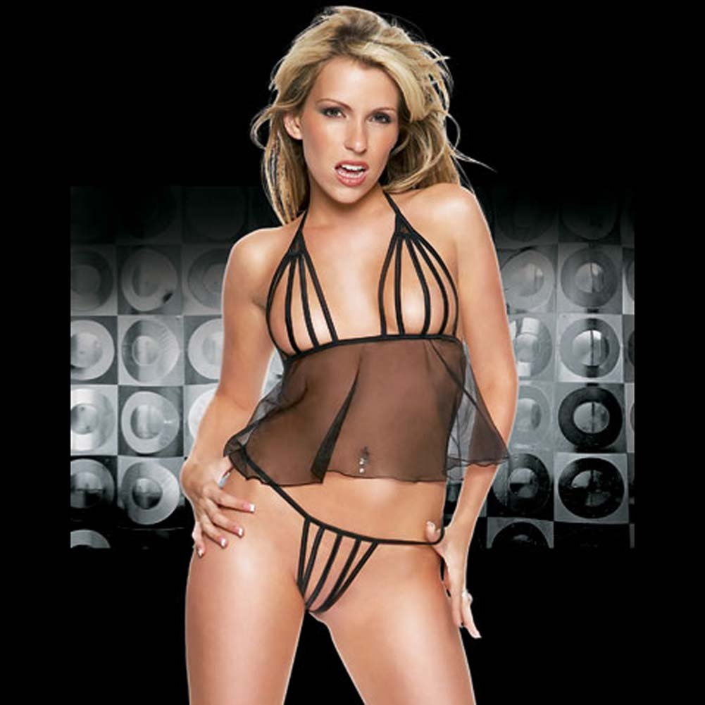 Multi Strap Sheer Babydoll with G-String Black - View #1