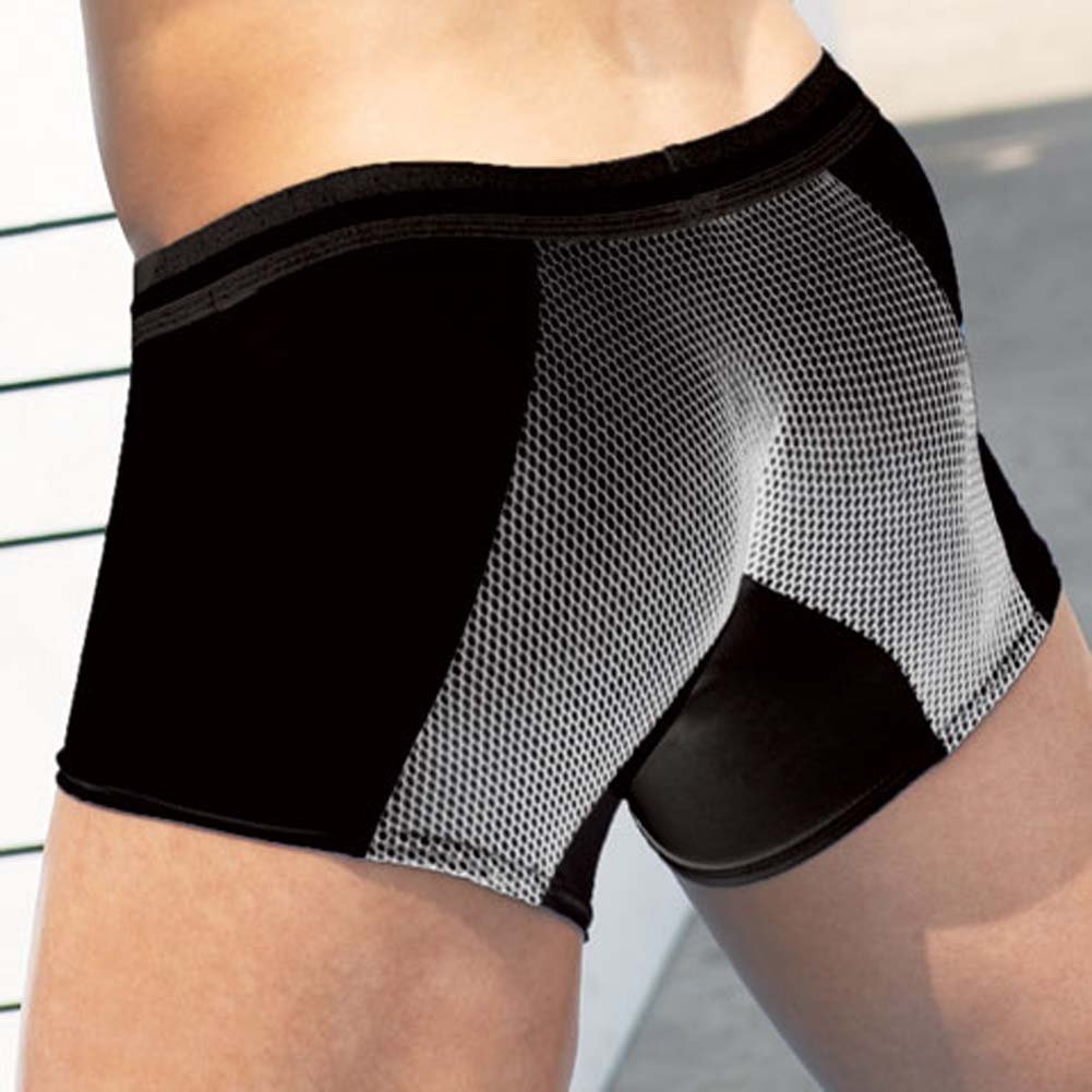 Microfiber Fishnet Boxer Brief with ZAKK Logo Black Medium - View #2