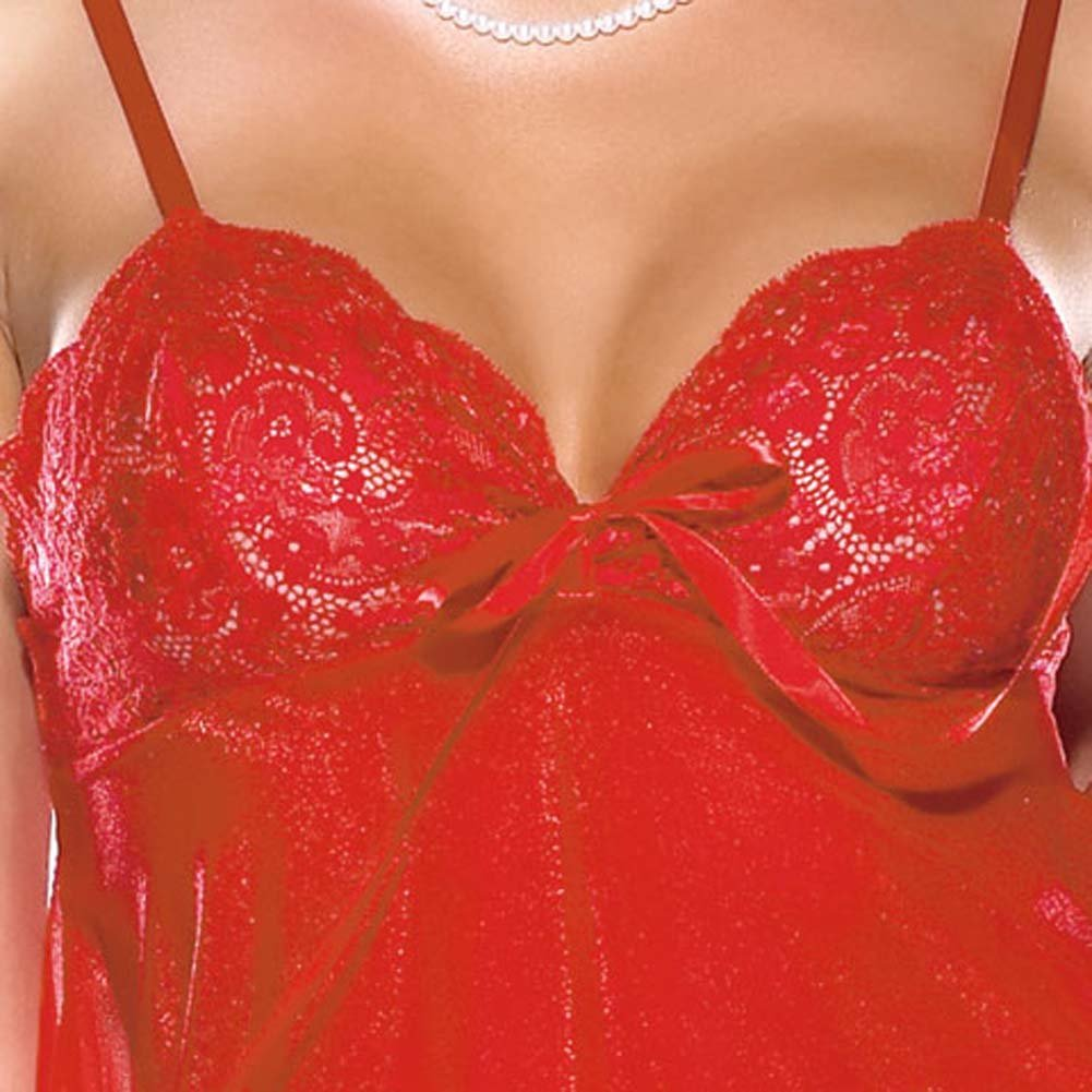 Lace and Sheer Babydoll and G-String Set Red - View #3