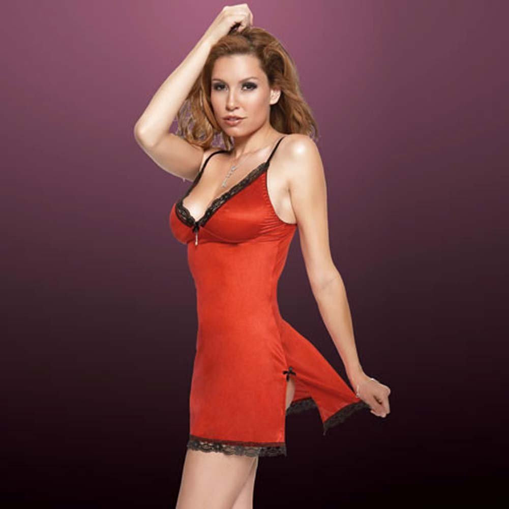 Penthouse Classy Side Slit Chemise Red/Large - View #1