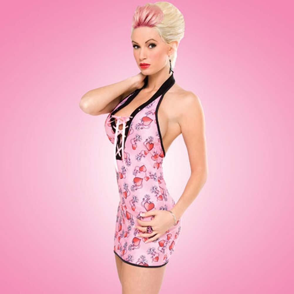 Penthouse Risky Heart Halter Dress Tattoo Heart Print Small - View #1