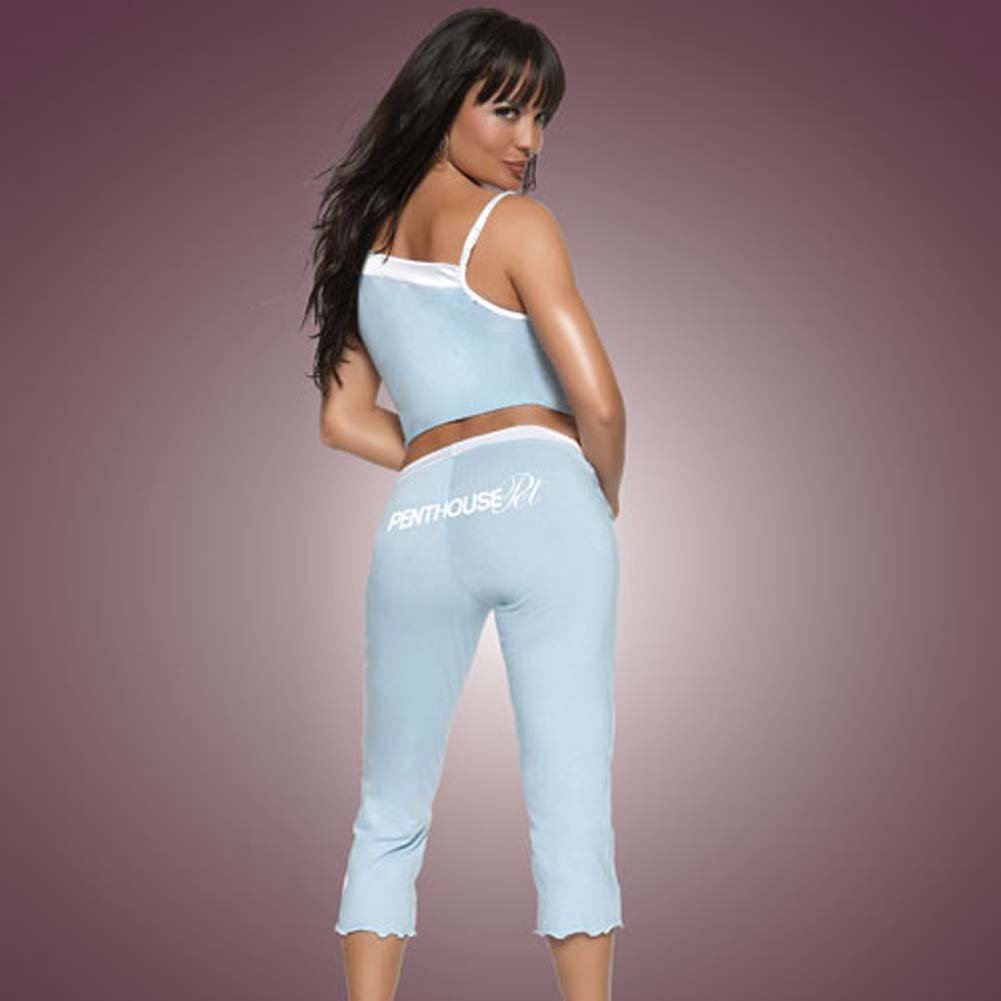 Penthouse Pet Cami and Capri Pants Blue with White Trim Med - View #2