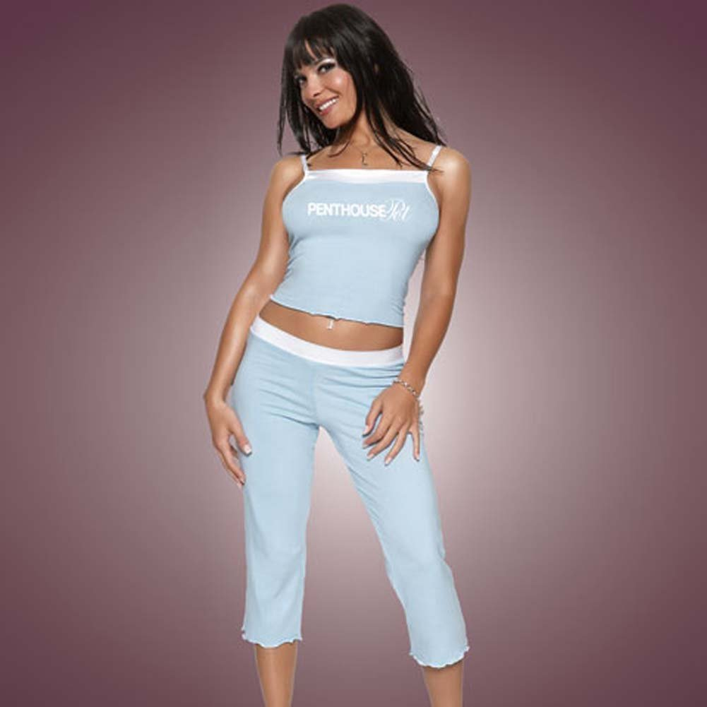 Penthouse Pet Cami and Capri Pants Blue with White Trim Lrg - View #1