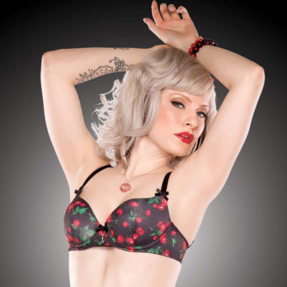 Penthouse Cherry Leaf Moulded Bra Cherry Print/Black Small - View #4