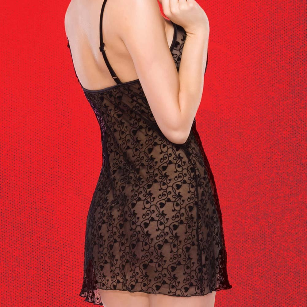 Heart to Heart Chemise with Detachable Gem Pin XL Black - View #4