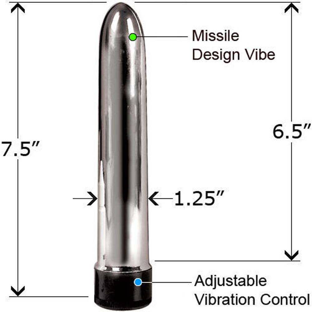 "Slimline Sensual Pleasure Vibrator 7.5"" Silver Bulk - View #1"