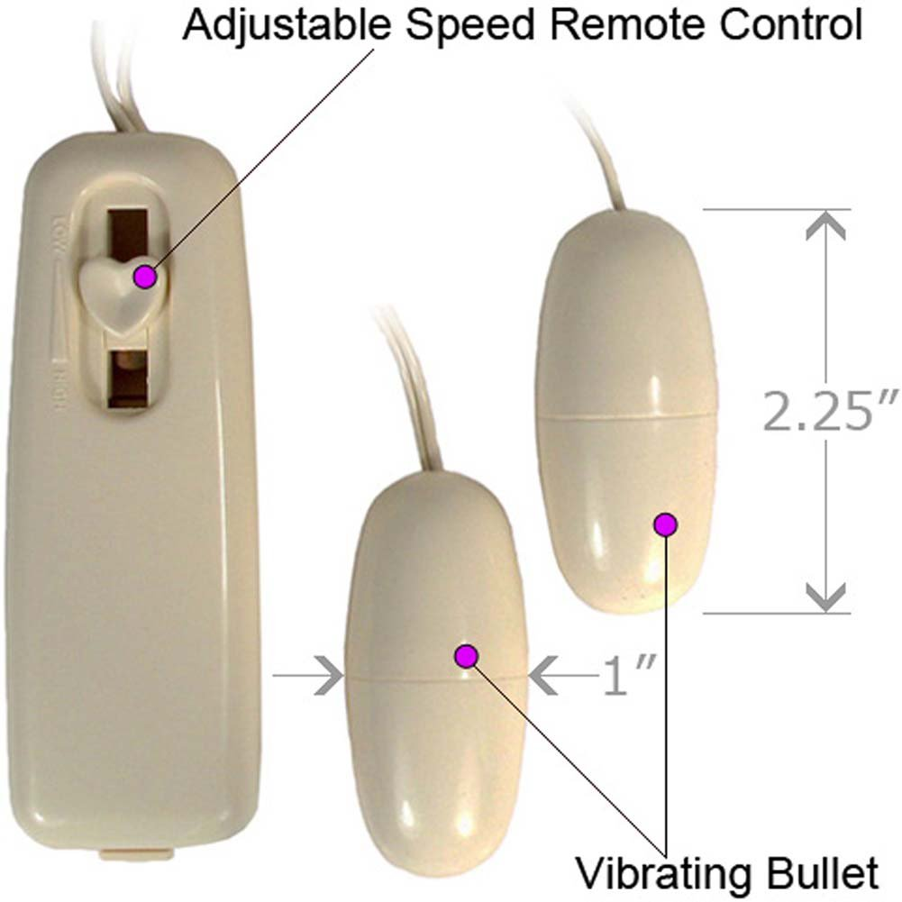 Multispeed Double Bullets Vibe with Remote Control Ivory - View #1