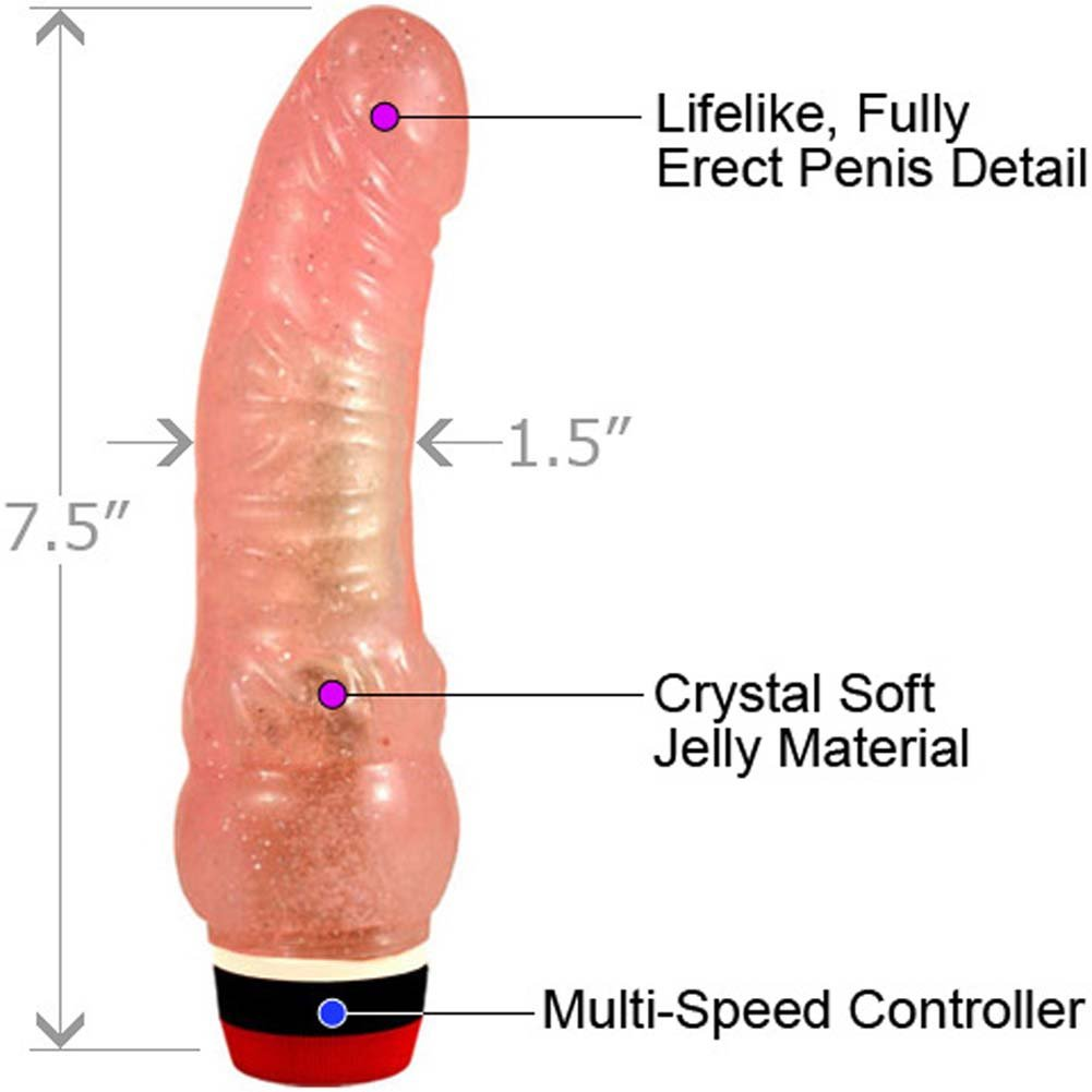 """Synergy Erotic Curved Lifelike Vibrating Jelly Dong 7.5"""" Glitter Peach - View #1"""