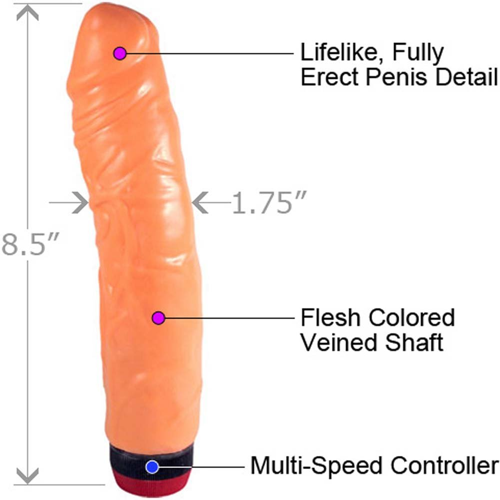 "Veined Stud Jumbo Jelly Cock Vibe 8.5"" Natural Flesh - View #1"