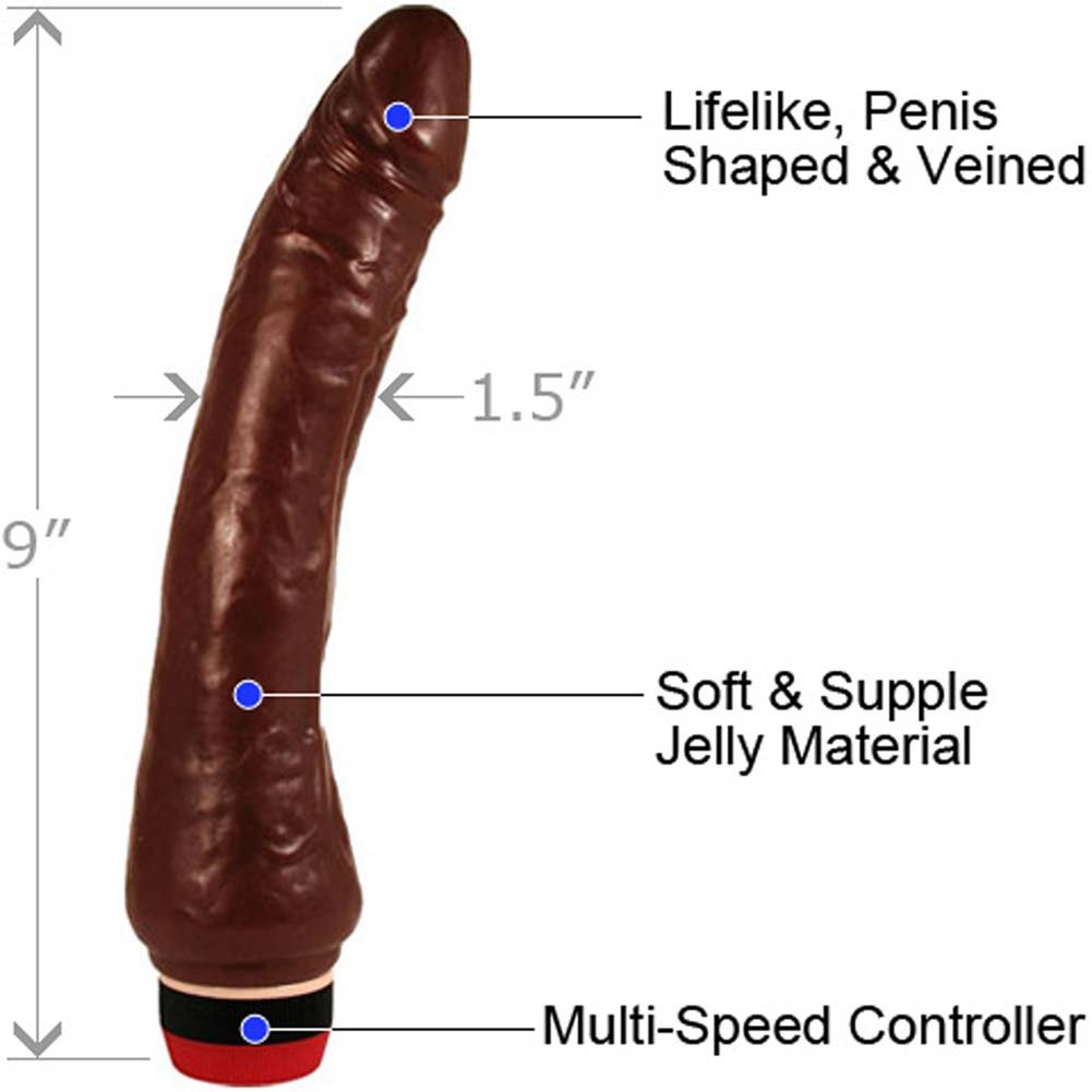 "Slim Jelly Delight Curved Vibrator 9"" Dreamy Chocolate - View #1"