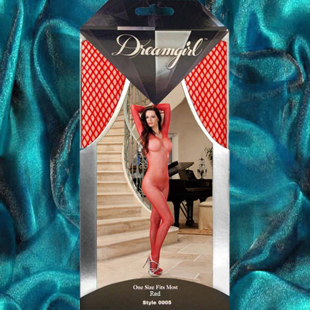 Amsterdam Fishnet Open Crotch Bodystocking Red - View #4