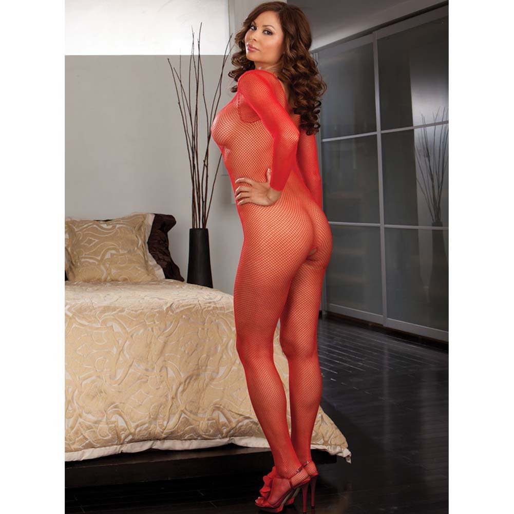 Amsterdam Fishnet Open Crotch Bodystocking Red Plus Size - View #2