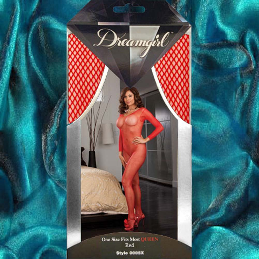 Amsterdam Fishnet Open Crotch Bodystocking Red Plus Size - View #4