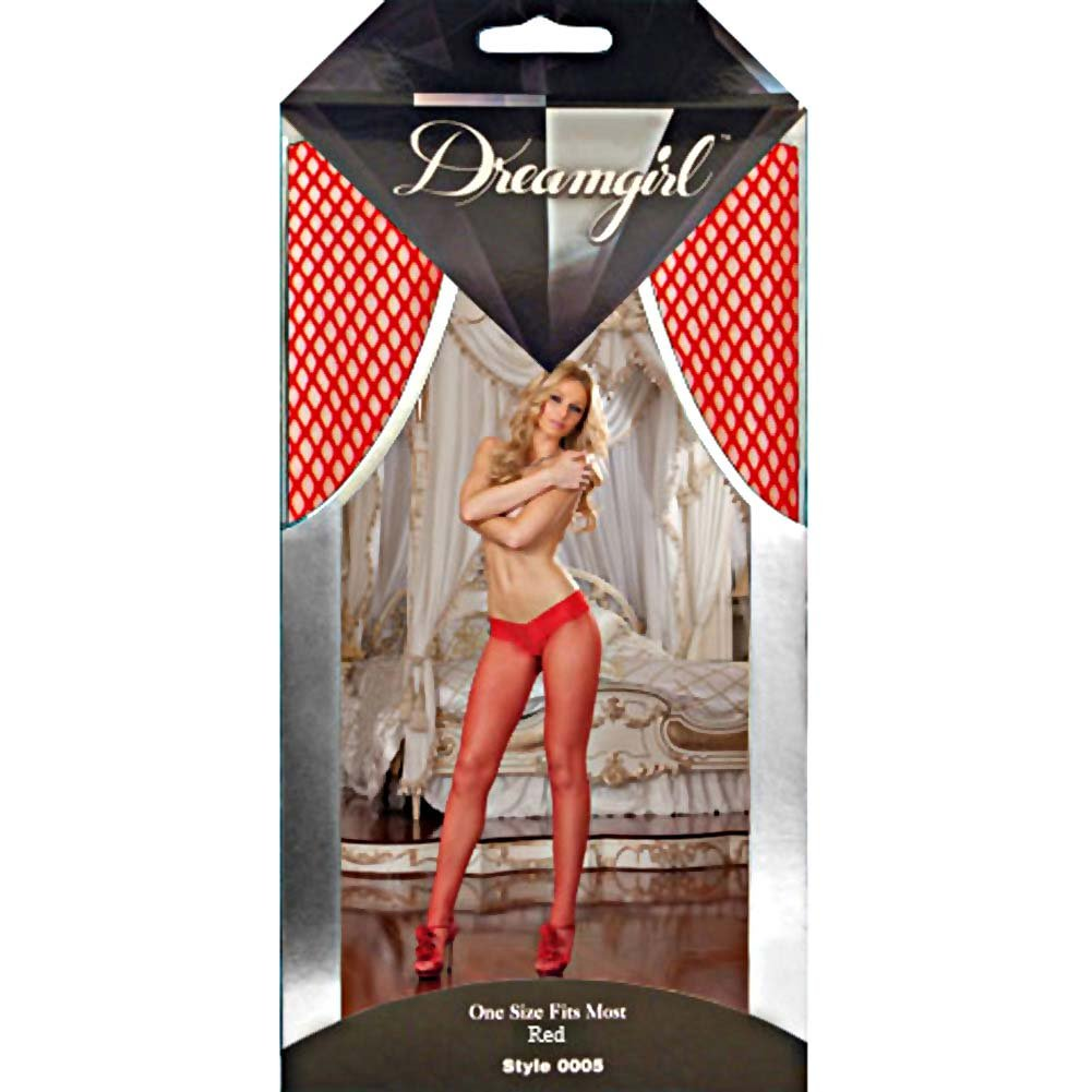 Shanghai Fishnet Pantyhose with Thong Set One Size Red - View #4