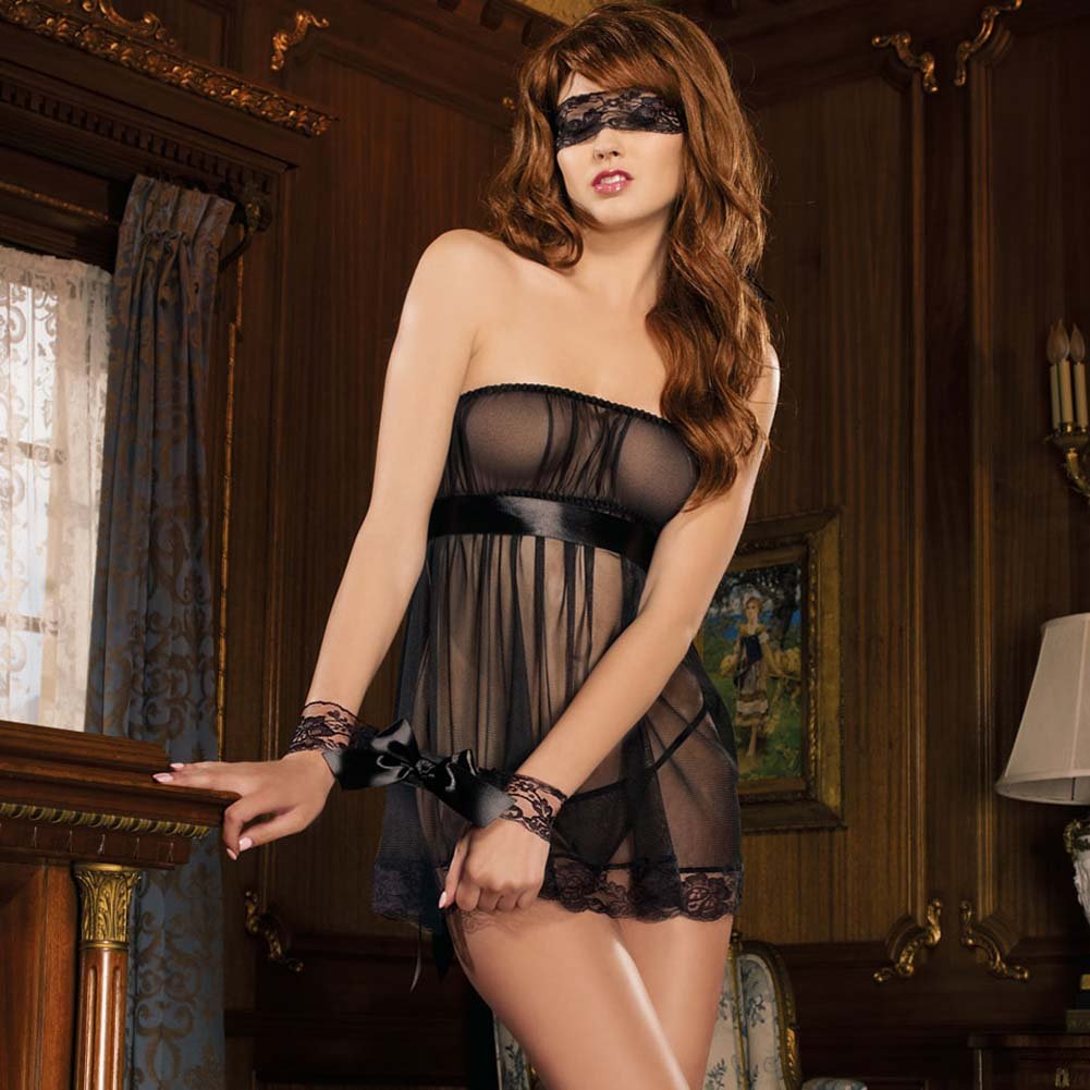 Pleasure Princess Babydoll and Thong with Cuffs and Mask - View #1