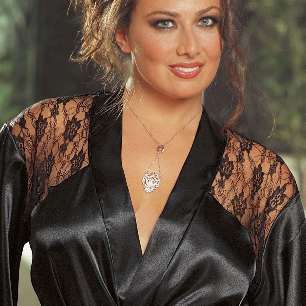Charmeuse Robe with Plunging Back Lace Inset Black 3x/4x - View #3