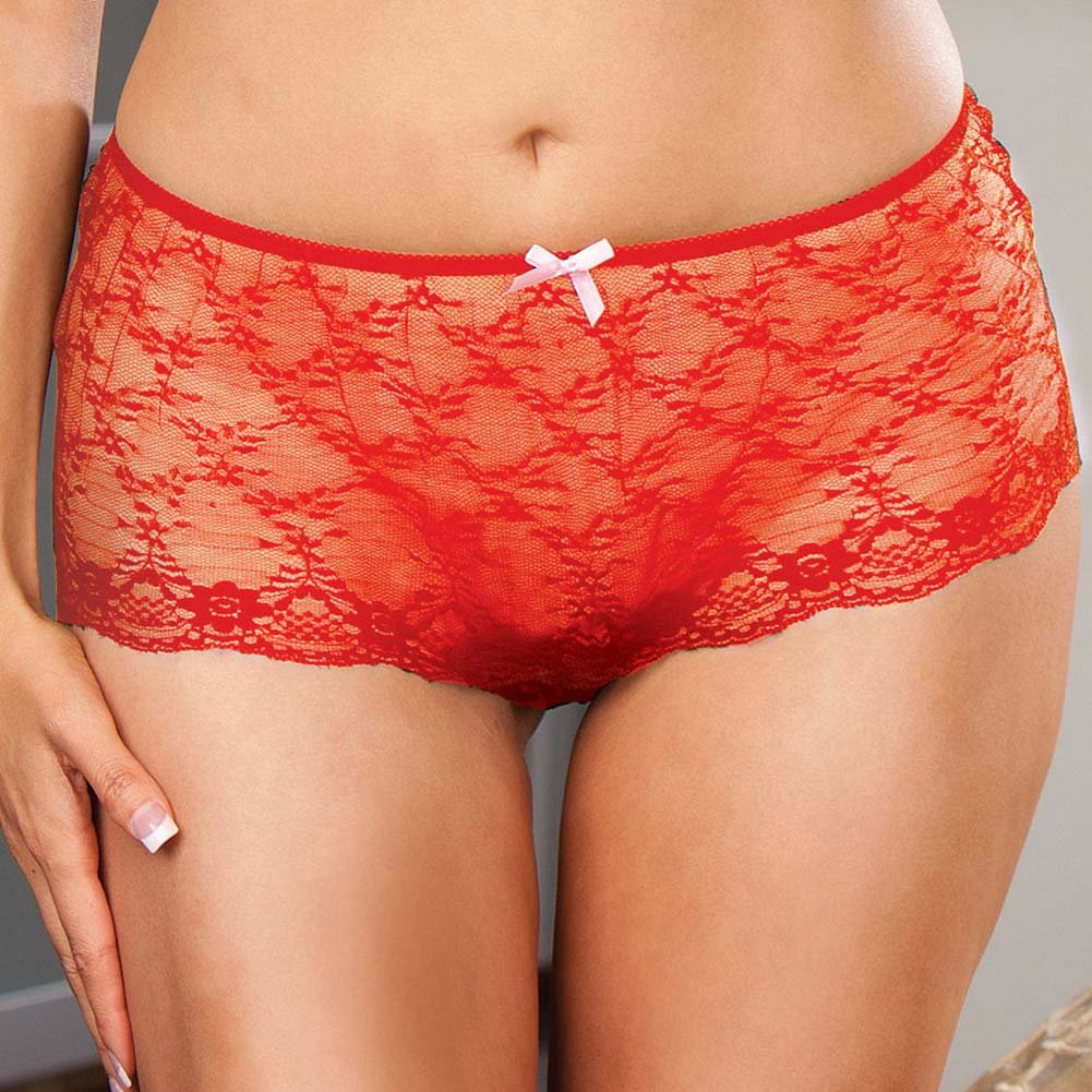 Lace Up Back Crotchless Boy Shorts Red Plus Size 1X/2X - View #3