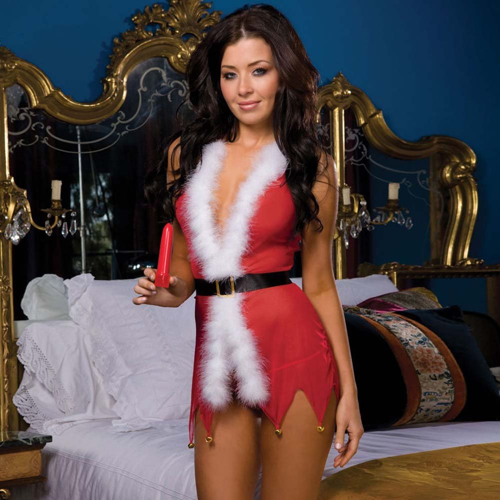 Deck My Halls Babydoll Set with Vibrator One Size Red - View #3