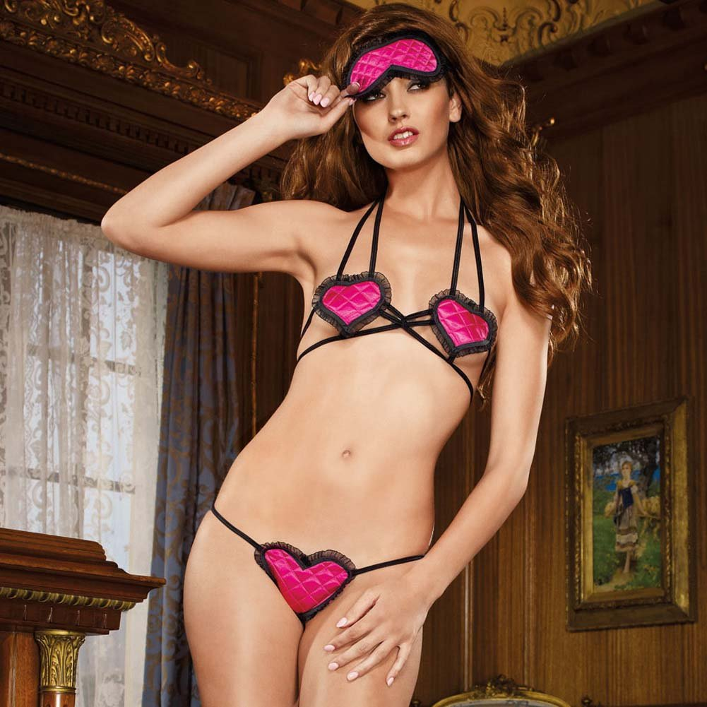 Blinded By Love Bra Panty and Eye Mask Set One Size Fuchsia - View #3