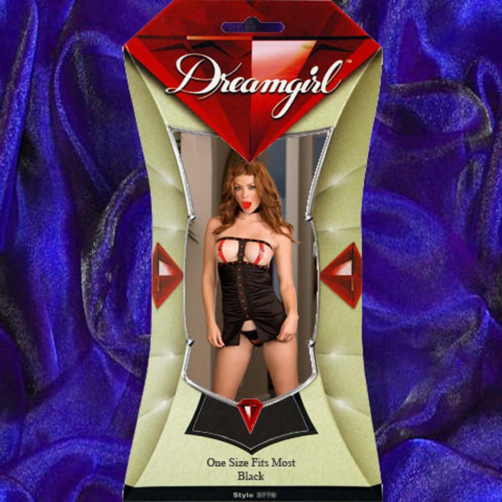 Gag Order Buckle Cup Babydoll and Thong Black - View #4
