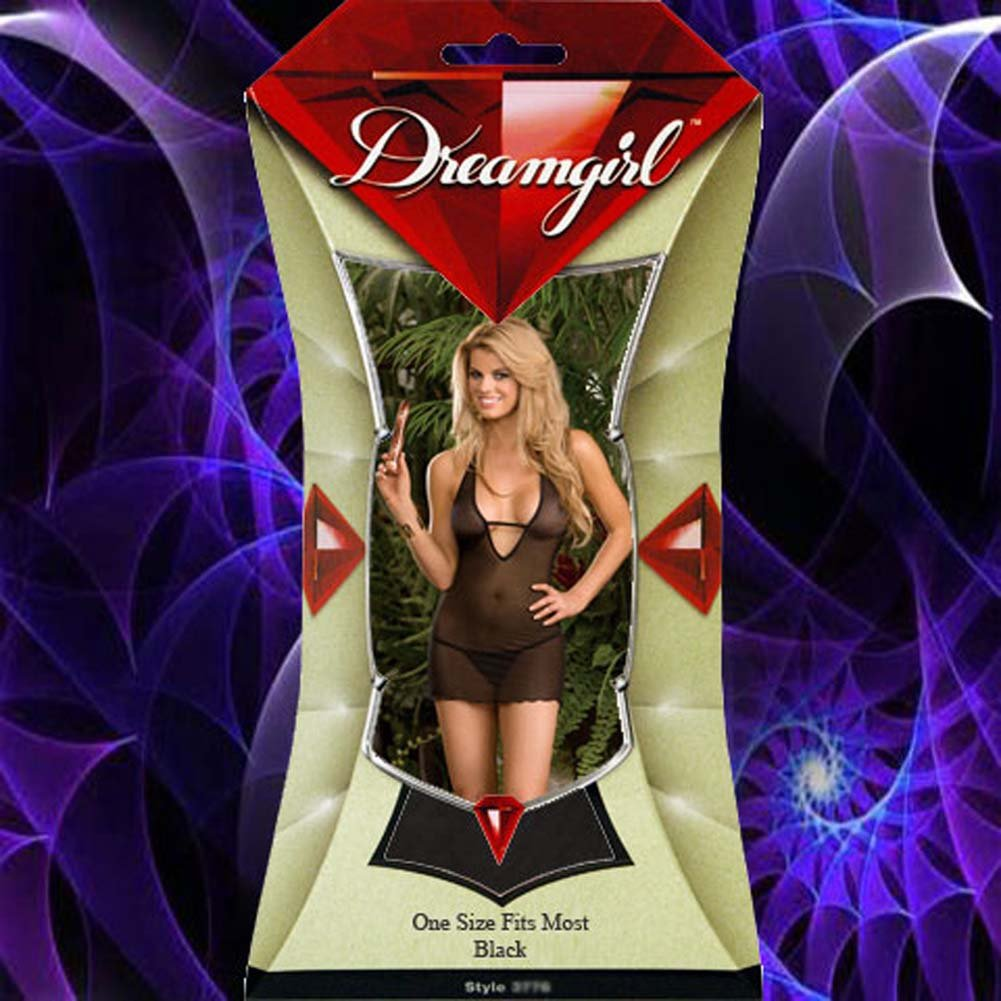 Play Time Sheer Piped Chemise with Adult Toy Black - View #4