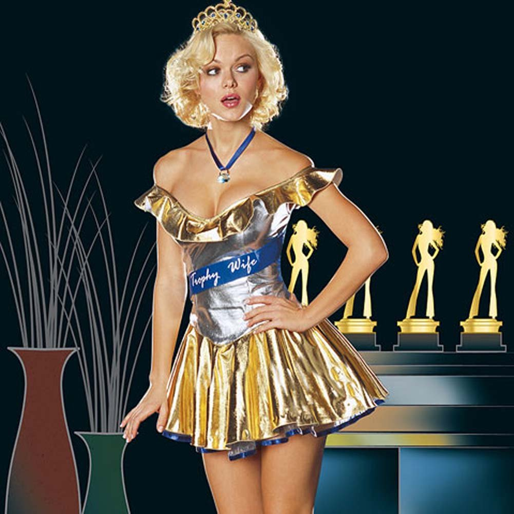 Trophy Wife Sexy Halloween Costume Set For the Bedroom Medium Gold - View #1