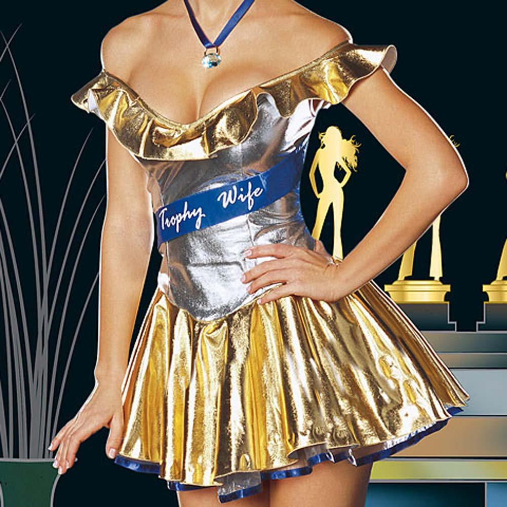 Trophy Wife Sexy Halloween Costume Set For the Bedroom Medium Gold - View #3