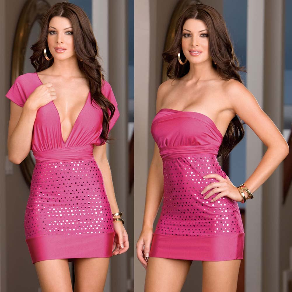 Versatile Dress with Thong and Styling Instructions Hot Pink - View #3