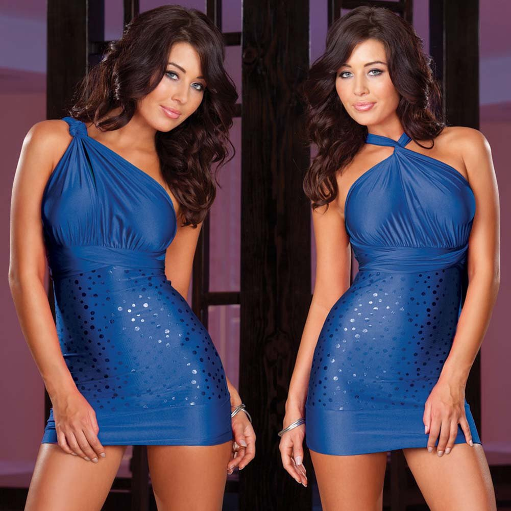 Versatile Dress with Thong and Styling Instructions Blue - View #3