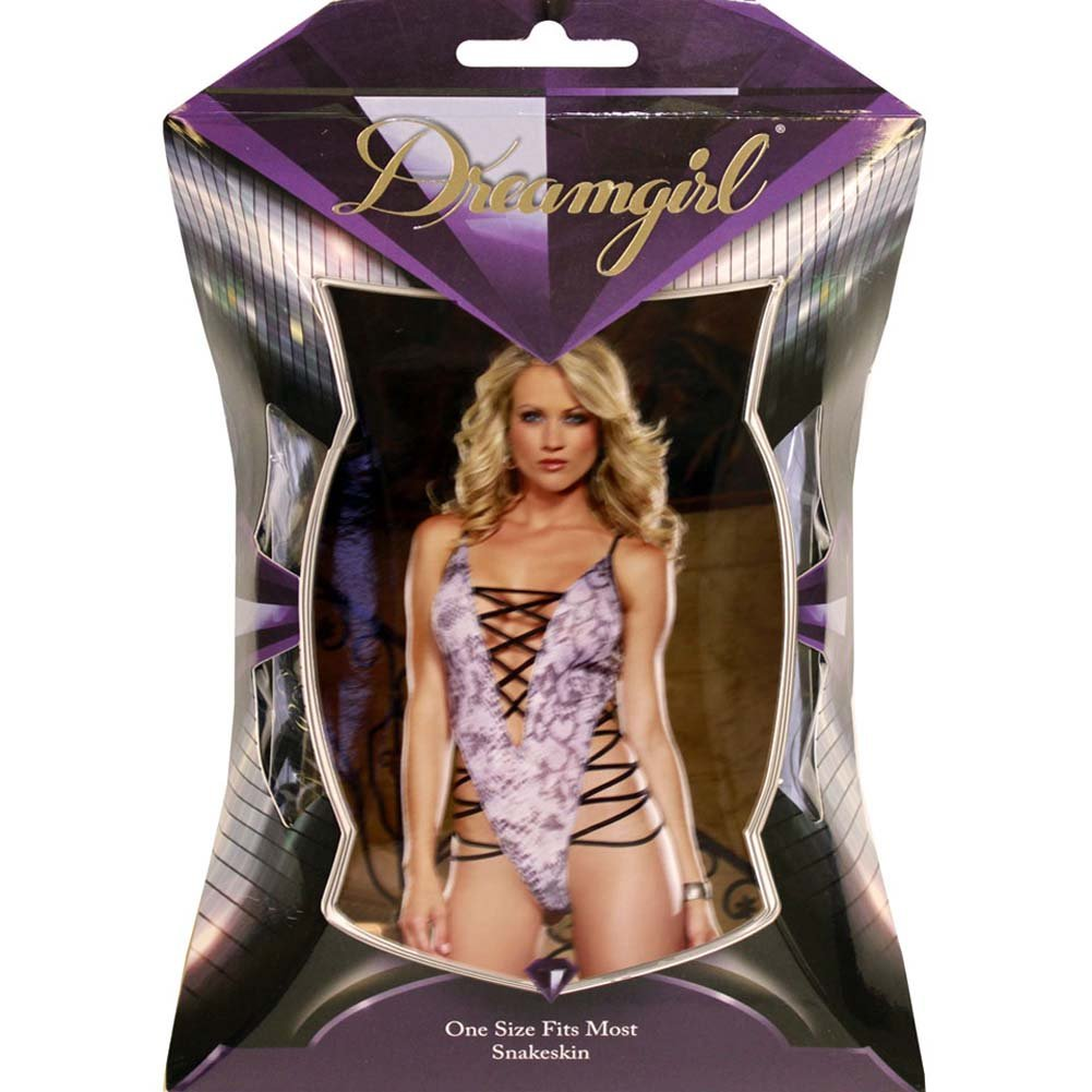 Glimmering Lace Up Teddy with Thong Backside Snakeskin Print - View #4