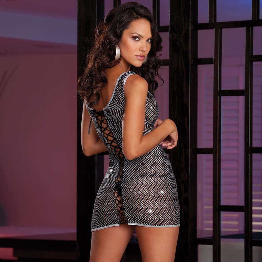 Lustrous Zig Zag Knit Dress with Adjustable Lace Up Black - View #2