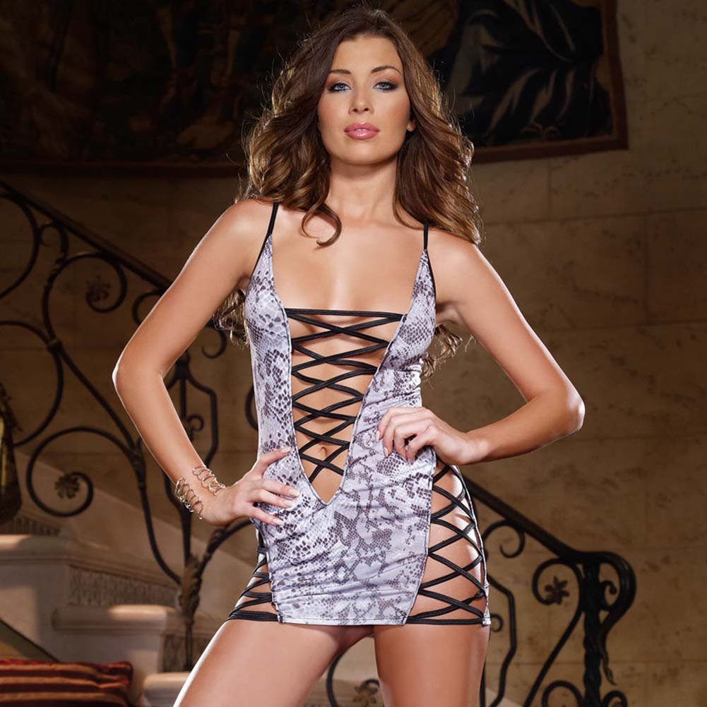 Glimmering Lace Up Chemise with Thong One Size Snakeskin Print - View #1