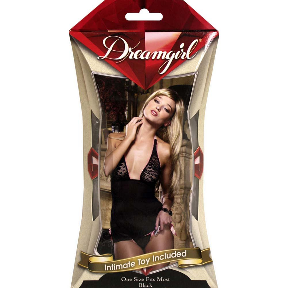 Pleasure Panty Babydoll Set Black with Intimate Toy - View #4