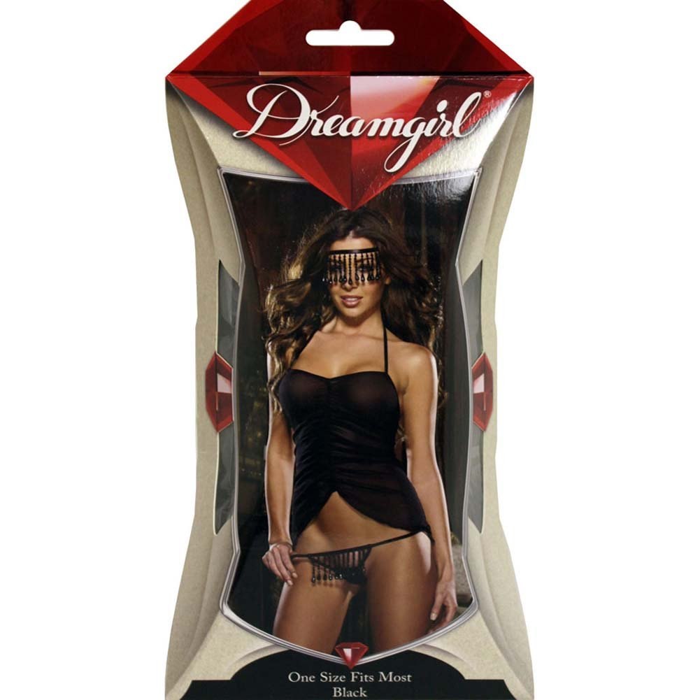 Naughty Fringe Chemise Set with Panty and Mask One Size Black - View #4